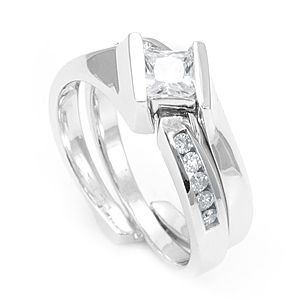 Custom Made Round Diamond Ring And Matching Band In 14k White Gold, Wedding Set/Rings