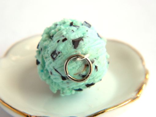 Custom Made Mint Chocolate Ice Cream Cone Charm