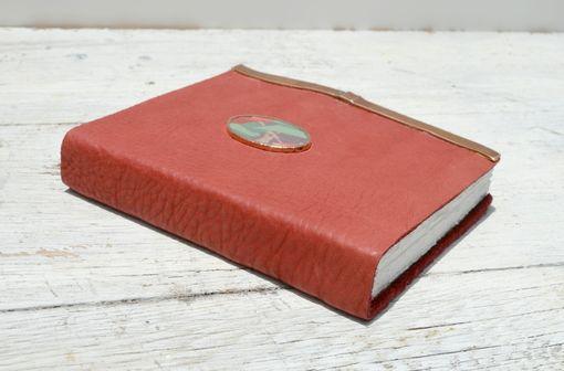 Custom Made Handmade Cherry Red Leather Bound Journal Touring Diary Tulip Serigraph Art Notebook