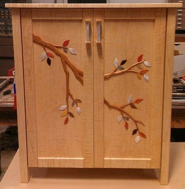 Custom Made Carved Cherry Branch Onlay Mop Leaves Curly Maple Cabinet