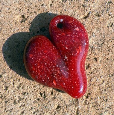 Custom Made Red Glass Heart Pendant Necklace Lampwork Boro Heart Pinky Red Heart