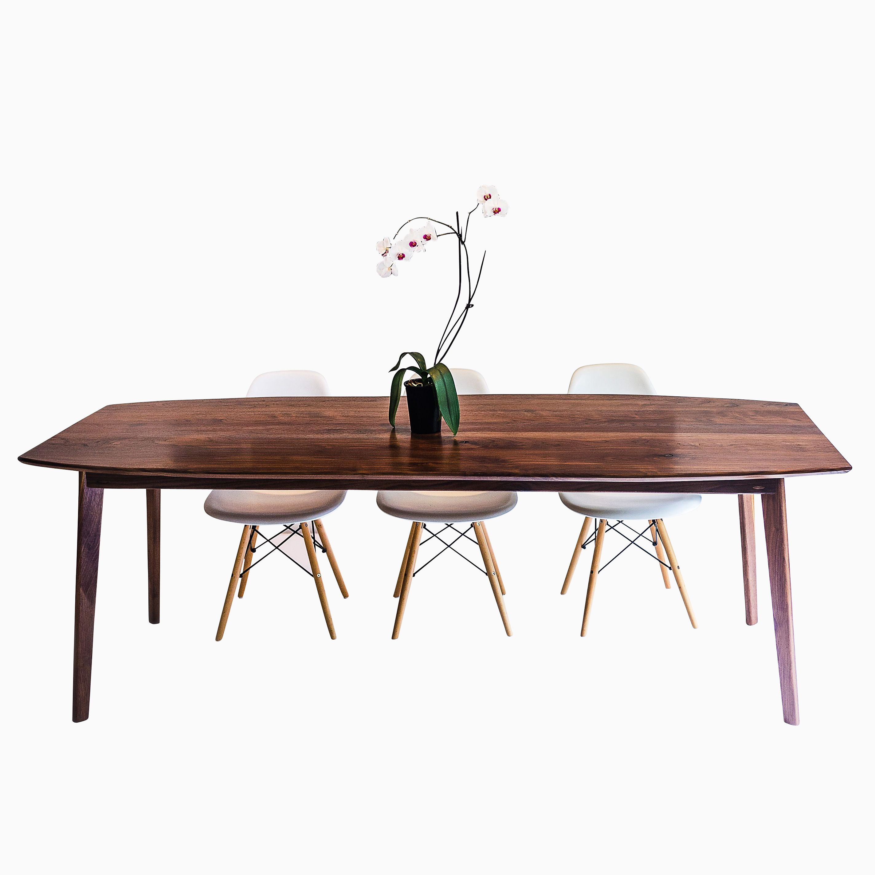 The Santa Monica: Solid Black Walnut Dining Table, Mid Century Modern