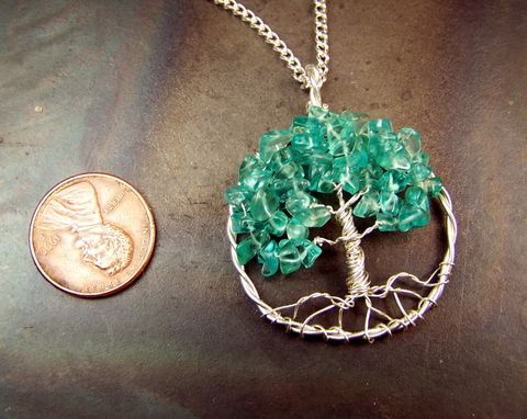 Custom Made Aquamarine Blue Gemstone And Sterling Silver Tree Of Life Necklace Pendant