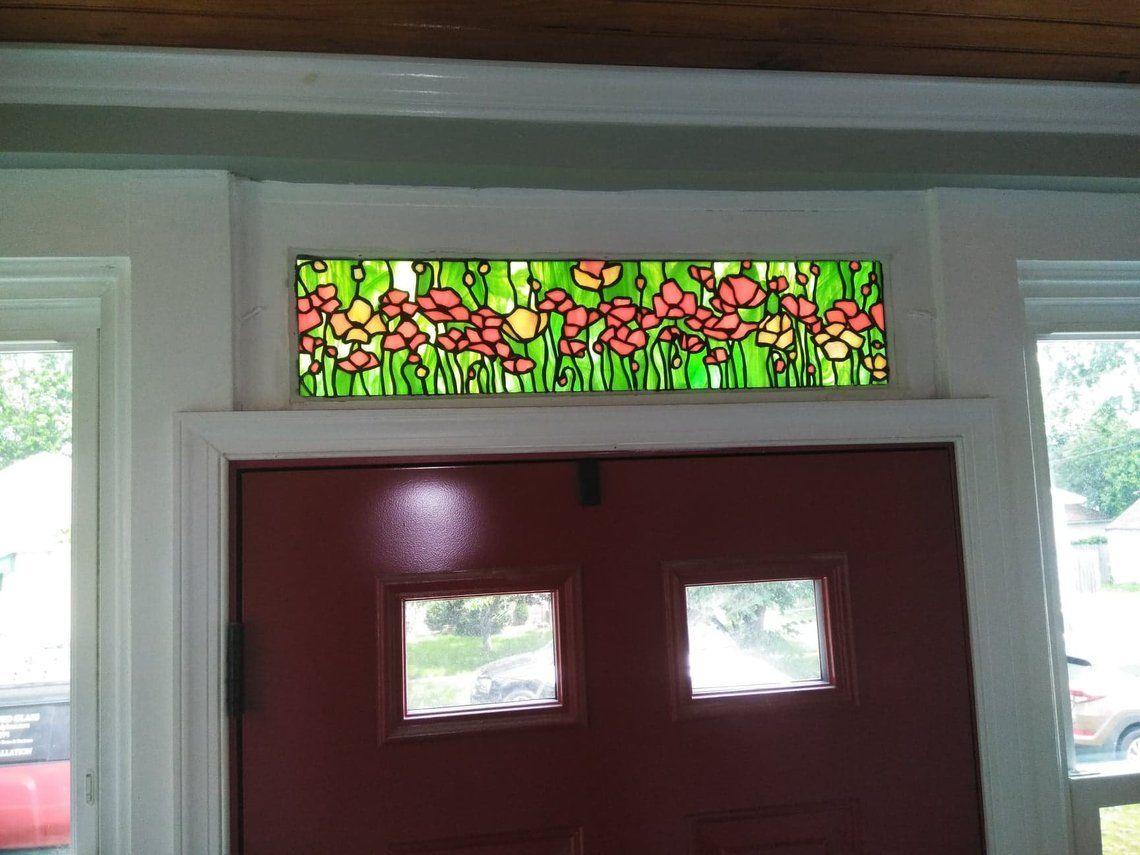 Handmade Poppy Stained Glass Transom Tw 73 By Terraza