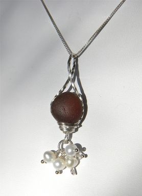 Custom Made Pearls And Crystals Necklace With Deep Rose Sea Glass