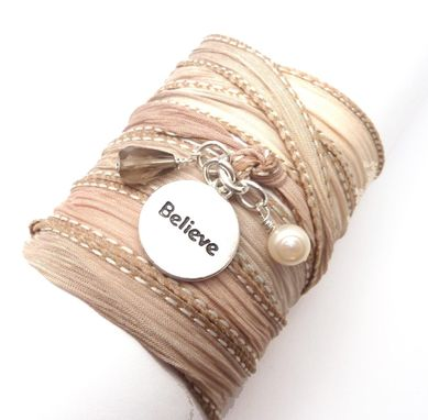Custom Made Silk Ribbon Bracelet With Believe Charm