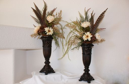 Hand Made Silk Flower Arrangement Fireplace Mantel Decor