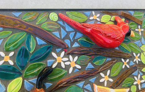 Custom Made Through The Thicket, Bird And Citrus Mosaic Wall Art