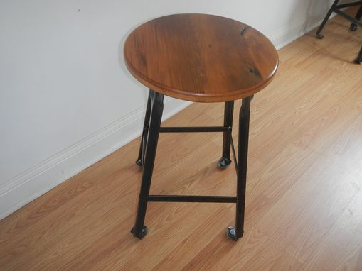 Custom Made Industrial Style Welded Steel And Reclaimed Wood Counter Stool