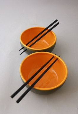 Custom Made Set Of 2 Ceramic Chopstick Bowls