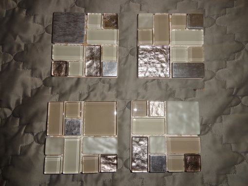 Custom Made Beige Glass/Metal Mosaic Coasters