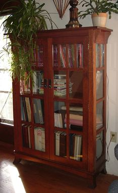 Custom Made Mission Bookshelf With Glass Doors