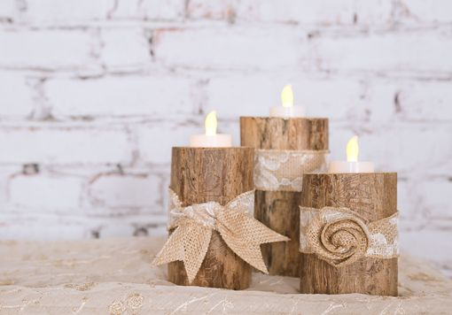 Custom Made Table Center Piece Set Of 3 Finished Log Tea Light / Votive /Candle  Holder