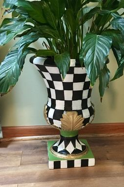 Custom Made Whimsical Painted Urn Planter, Urn Planter, Indoor Outdoor Planter, Whimsical Home Decor