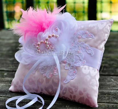 Custom Made Ring Bearer Pillow / Wedding Pillow - Cinderella Wedding - Blush Pink - Alencon Lace - Animal Print