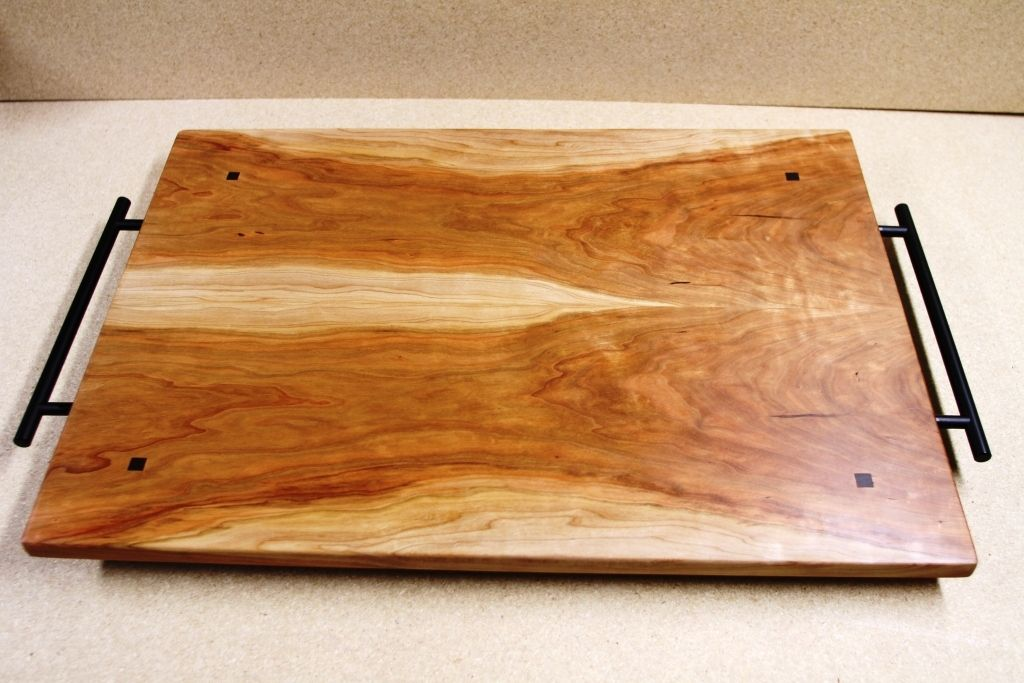 Custom Made Cherry Wood Book Matched Cutting Board Serving Tray