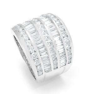 Custom Made Baguette And Round Diamonds Ring In 14k White Gold, Dome Ladies Ring, Diamond Ring