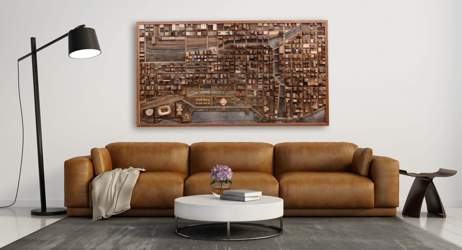 Handmade Wood Wall Art Of Chicago Cityscape Made Of Old