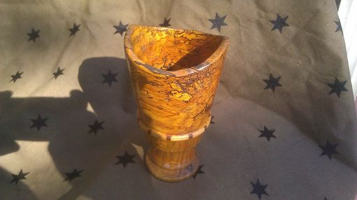 Custom Made Live Edge Spalted Oak Goblet With Segmented Ring