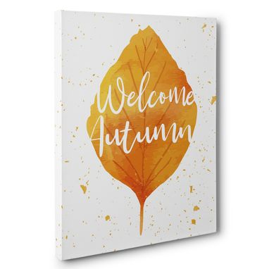 Custom Made Fall Leaf Welcome Autumn Canvas Wall Art