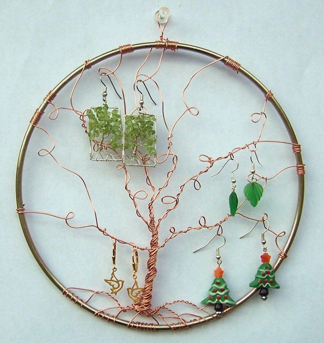Custom Made Earring Display Tree Of Life Wall Hanging Holder Jewelry