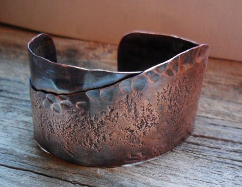 Custom Made Two Textured Copper Cuff