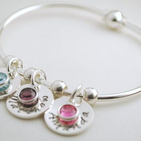 Personalized Bangle Bracelet With Name Charms And Birth Month Crystals Custom Jewelry By Allison Brown