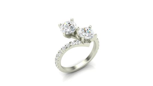 Custom Made 2 Stone Engagement Ring