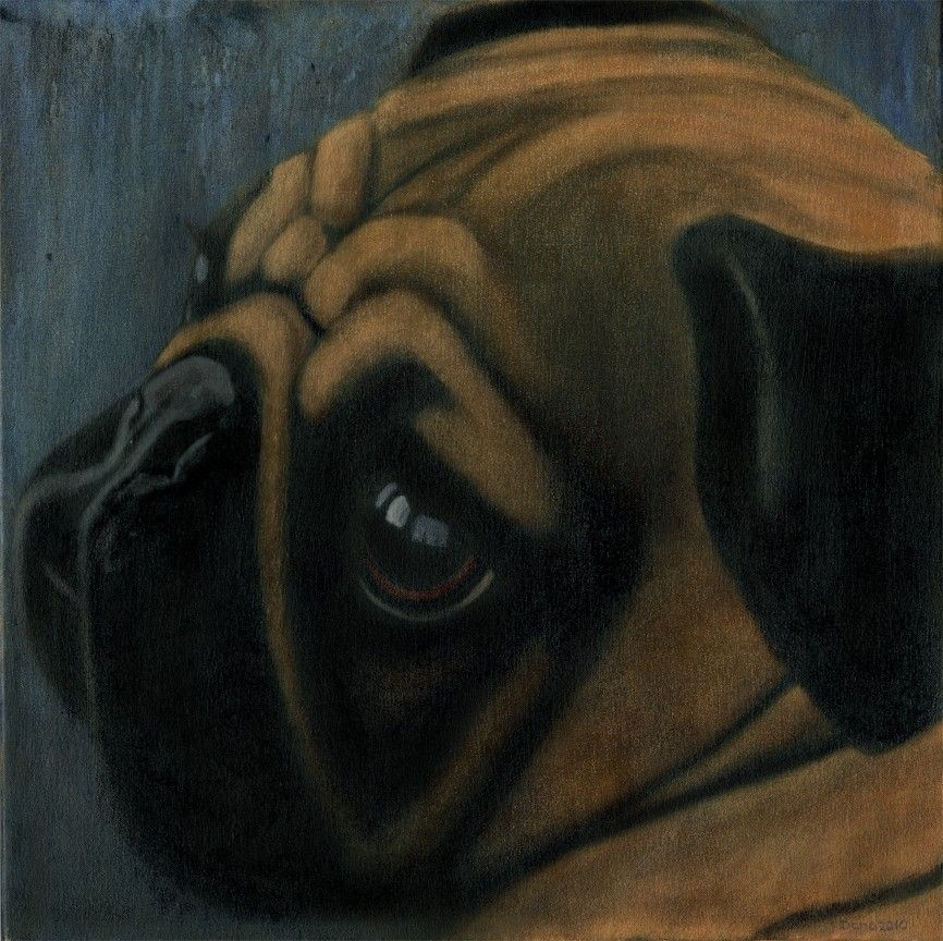 Custom Made Pug Painting Original Oil 24 X Gallery Wrapped Canvas