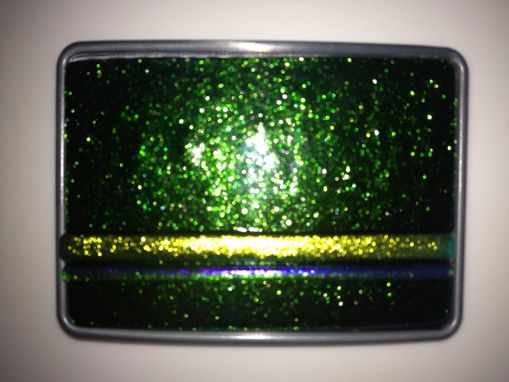Custom Made Sparkly Green And Fluorescent Yellow Fused Glass Belt Buckle