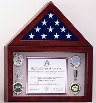 Custom Made Flag Display Case With A Shadow Box