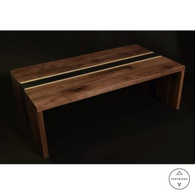 Custom Made Walnut/Steel Stripe Coffee Table