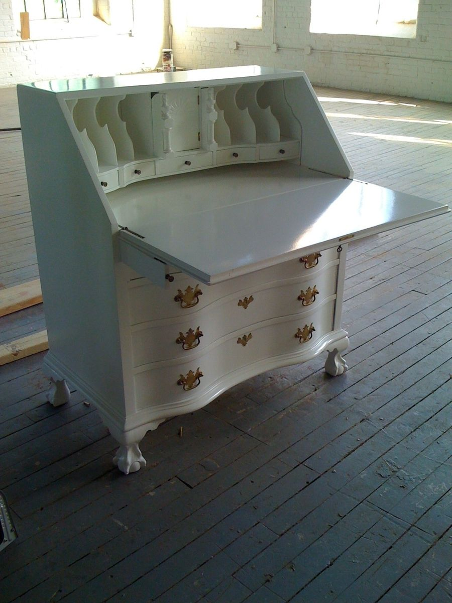 Custom Made Antique Mahogany Secretary Desk- White Lacquer - Handmade Antique Mahogany Secretary Desk- White Lacquer By Alps