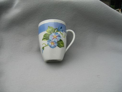 Custom Made Hand Painted Blue Morning Glory Mug.