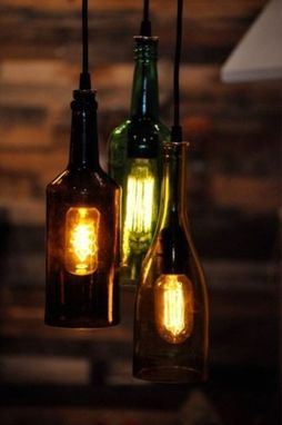 Custom Made Set Of Three Recycled Wine Bottle Hanging Lamp