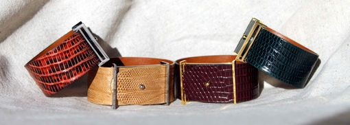 Custom Made Genuine Lizard Luxury Bracelet In Bourbon - Exotic Leather