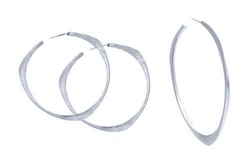Custom Made Sterling Silver Rotary Hoop Earring, Hammered