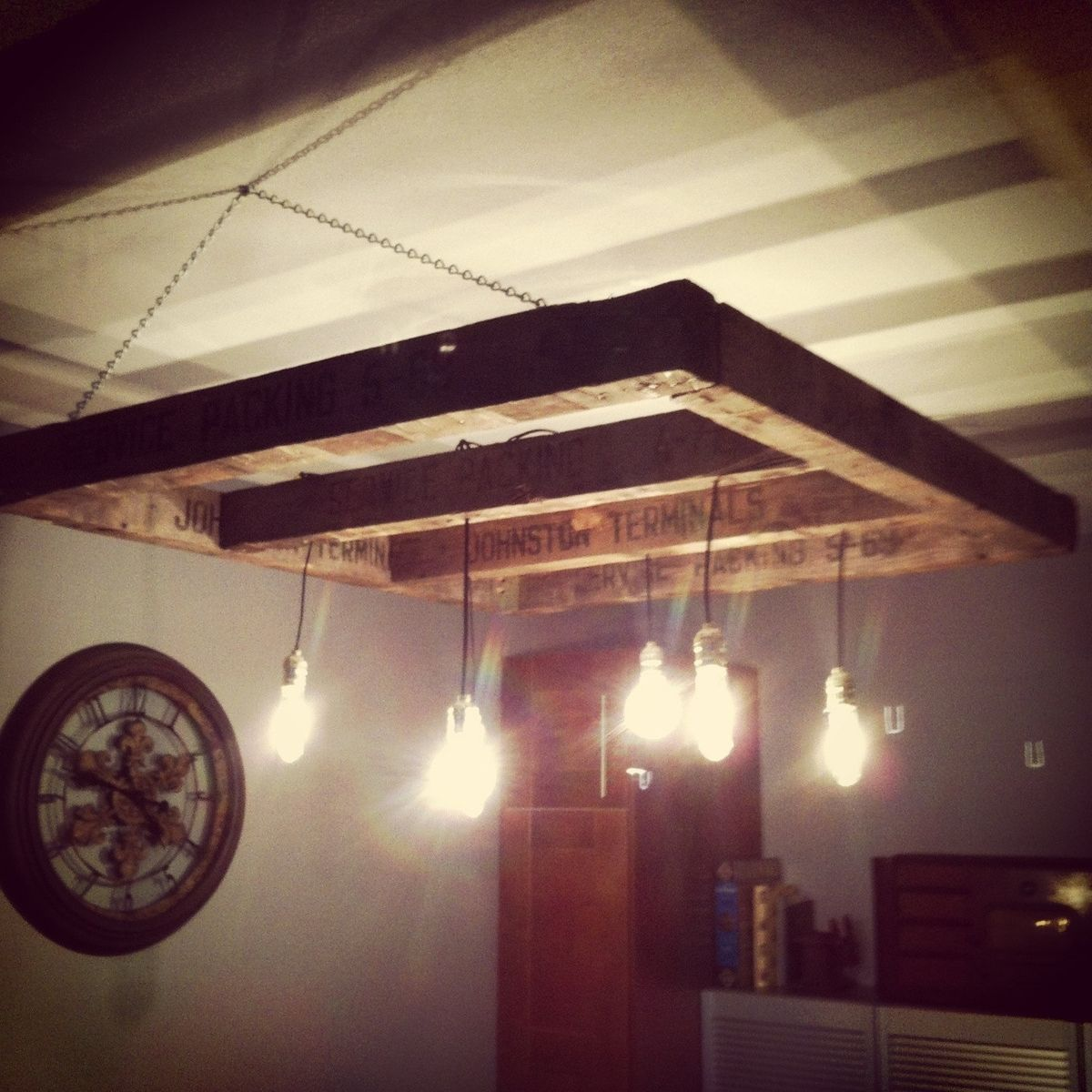 custom made reclaimed wood edison bulb chandelier by j s reclaimed