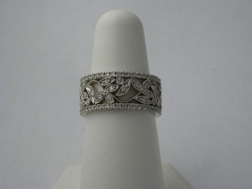 Custom Made Vintage Leaves Set With Diamonds And Two Thin Diamond Bands