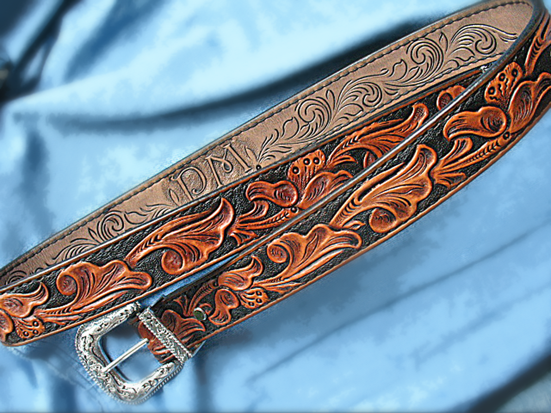 Buy a custom tooled gun belt personalized pm heavy duty