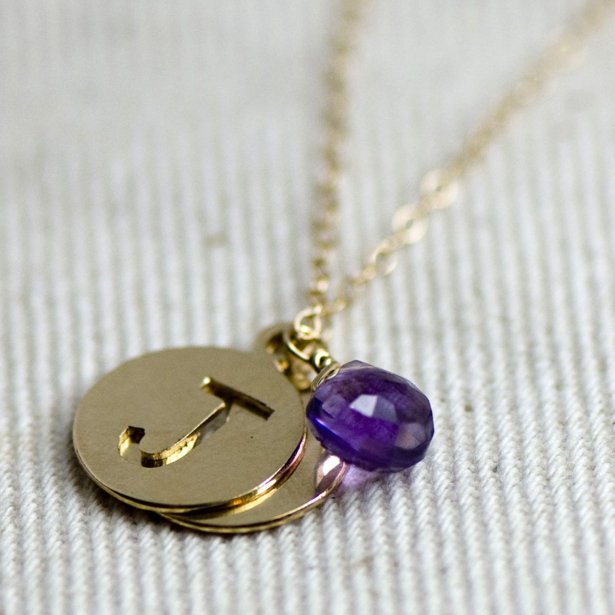 Hand crafted initial and amethyst necklace by britta ambauen custom made initial and amethyst necklace aloadofball Image collections