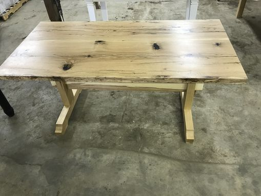 Custom Made Red Oak Slab Trestle Table