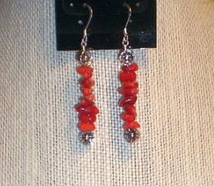 Custom Made Red Coral Bamboo Sticks Necklace Set.