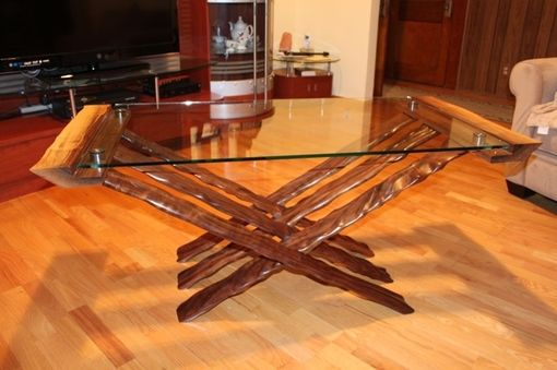 Custom Made Glass Top Coffee Table