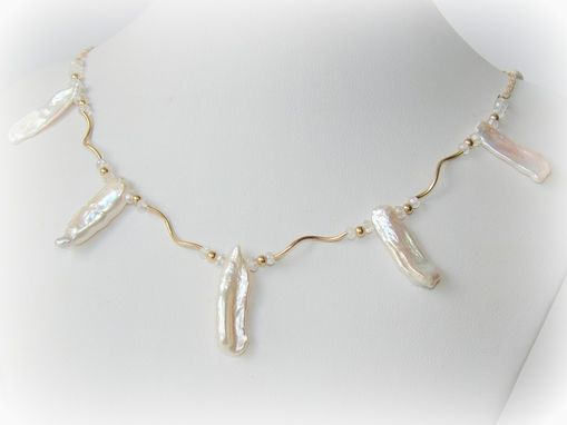 Custom Made White Pearl Necklace 14k Gold Filled