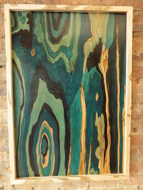 Custom Made Wood Dye On Wood Panel With A Wormy Maple Frame