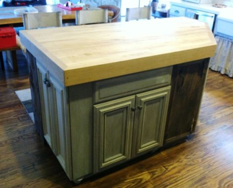 Custom Made Angled Butcher Block Island Top