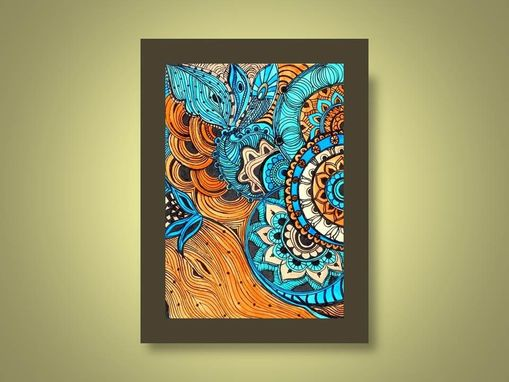 Custom Made Paisley Fine Art Print Reproduction 5x7 Black Ink And Acrylic Painting Blue Brown Peach By Devikasar