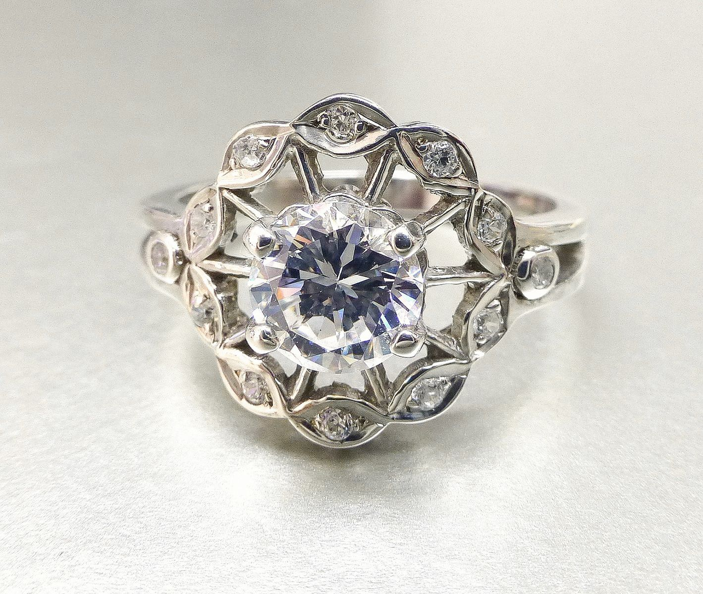 Buy A Hand Made Flower Engagement Ring With White Sapphire Made To