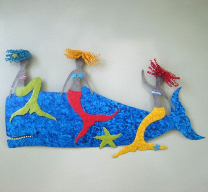 Custom Made Art Wall Sculpture Marine - Mermaids And Whale - Catching A Ride - Recycled Metal Coastal Wall Decor